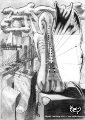 Photo pillier du pont de Normandie + crayon copy