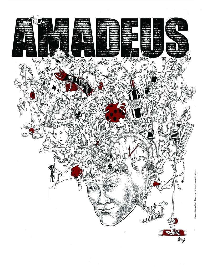Dessin pour l'affiche du groupe de Rock AMADEUS https://www.facebook.com/amadeusmusique Drawing for the Amadeus rock-bank poster! https://www.facebook.com/amadeusmusique